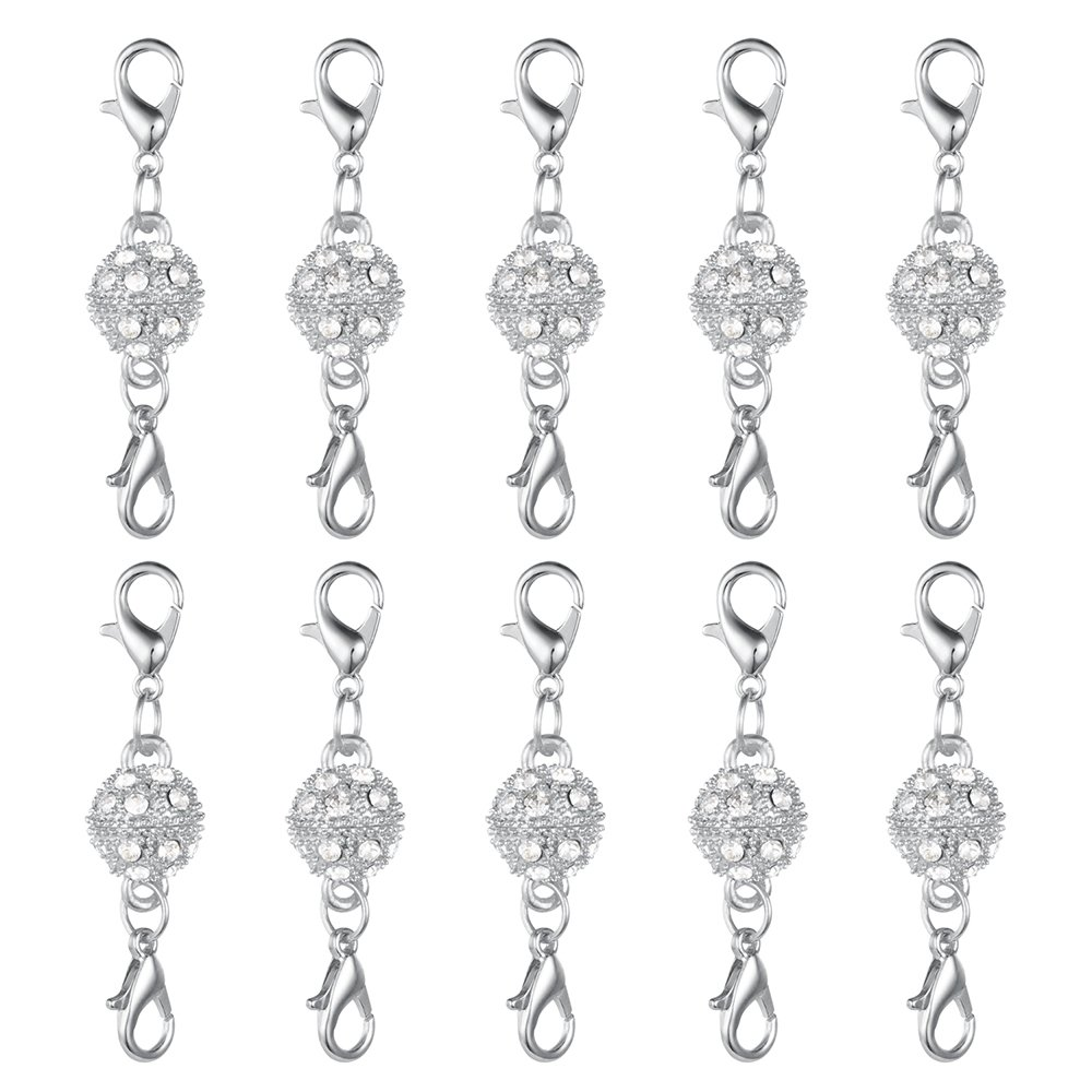 Dsmile Magnetic Jewelry Clasps Rhinestone Ball Style for Jewelry Necklace Bracelet,10 mm Gold//Silver Plated 12 Sets