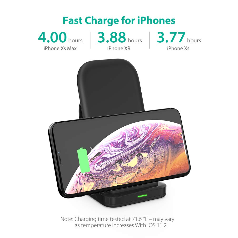 Wireless Charging Stand RAVPower 2 Coils 7.5W Qi-certified Compatible iPhone XS MAX XR X 8 & 8 Plus with HyperAir, 10W Qi for Galaxy S9 S9+ Note 8 All Qi-Enabled Devices (Black) by RAVPower