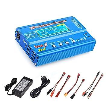 Haisito Cargador de Equilibrio de batería de 80W 6A Lipo Descargador para batería de LiPo/ Li-Ion/ Life (1-6S), NiMH/ NiCd (1-15S), Cargador de ...
