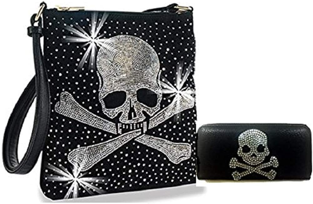 Womens PU Leather Punk Skull Floral Gothic Crossbody Shoulder Bag