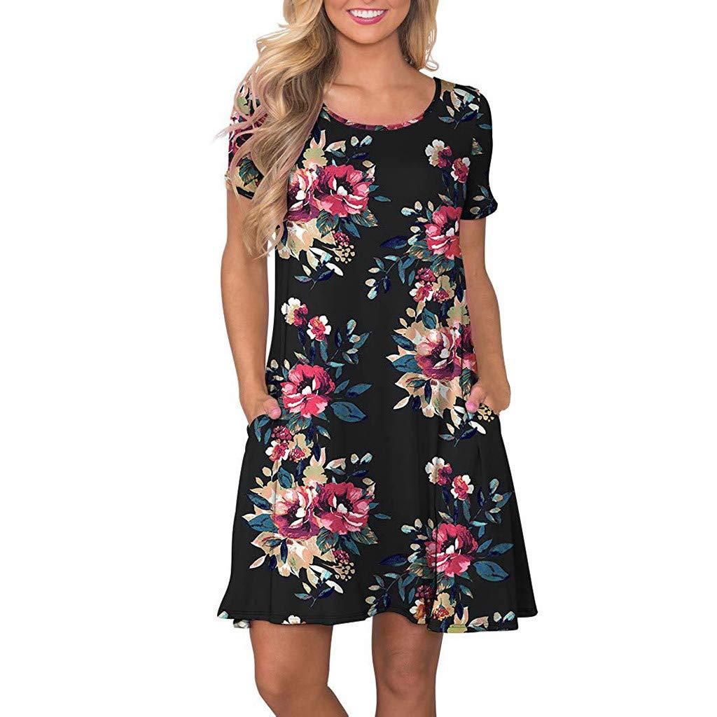 KYLEON Women Dresses Summer Pockets Boho Floral Printed Dress Swing Beach Vintage Short Mini Dress Tank Casual Sundress Black
