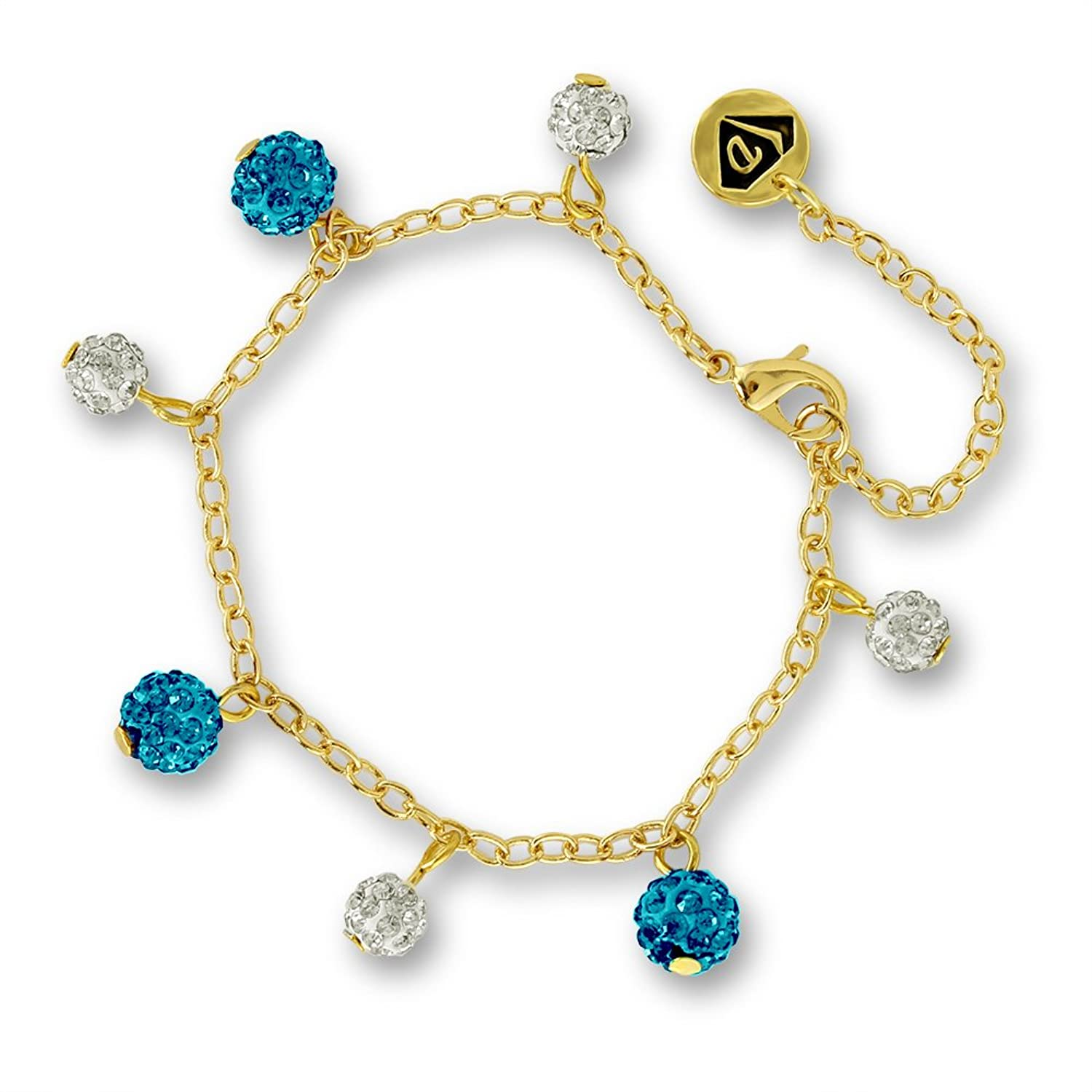 Amazon.com: Charm Bracelet for Girls with Sparkly Crystal Balls ...