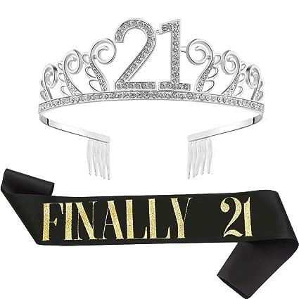 Laumay 21st Birthday Sash And Tiara Kit Finally 21 Black Glitter Satin Sash And Crystal Tiara Birthday Crown For Girls 21st Birthday Gifts Party