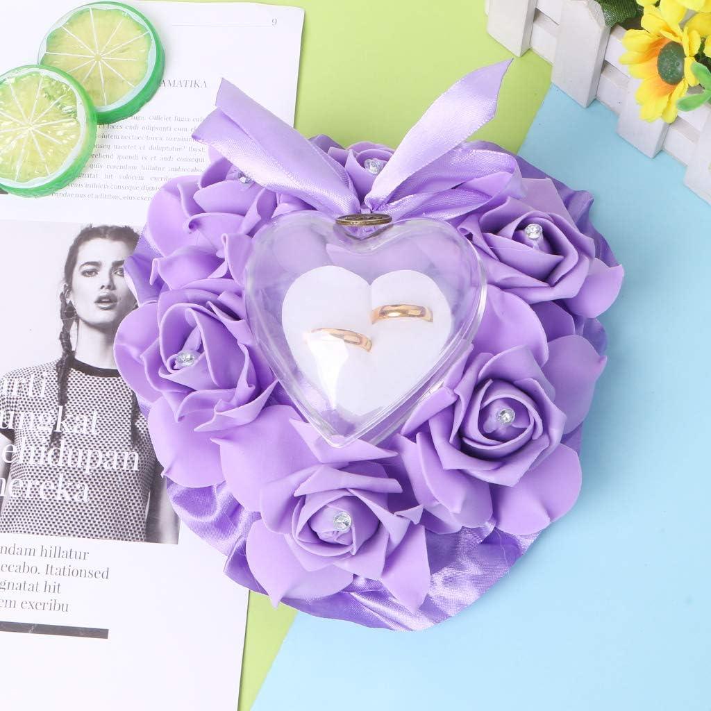 LLLucky Coeur Forme Rose Bague Bo/îte De Mariage Strass Anneau Oreiller Bague De Mariage D/écoration Coussin Rose