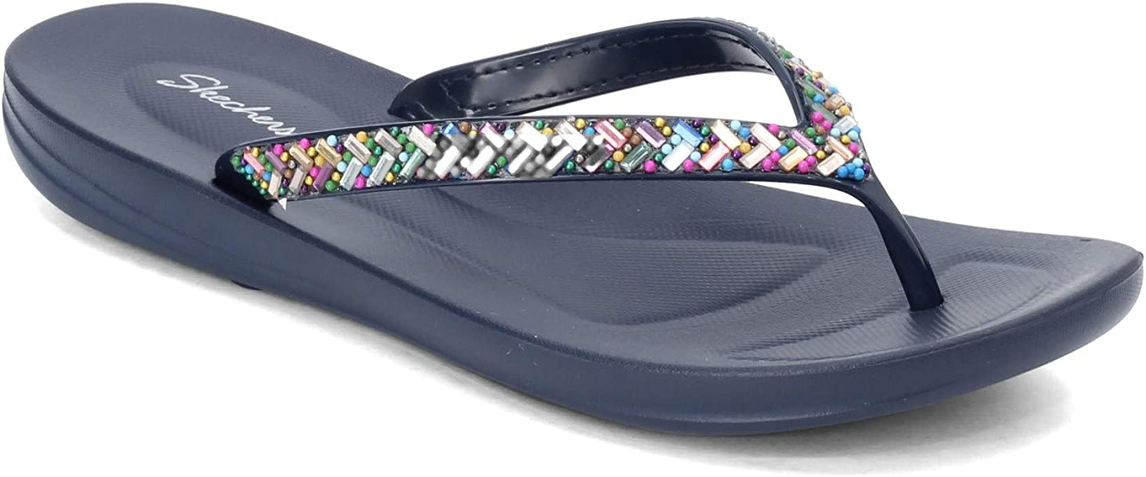 Skechers Womens Bungalow - Brunch Date - Multi-Colored Rhinestone Jelly Thong Flip-Flop