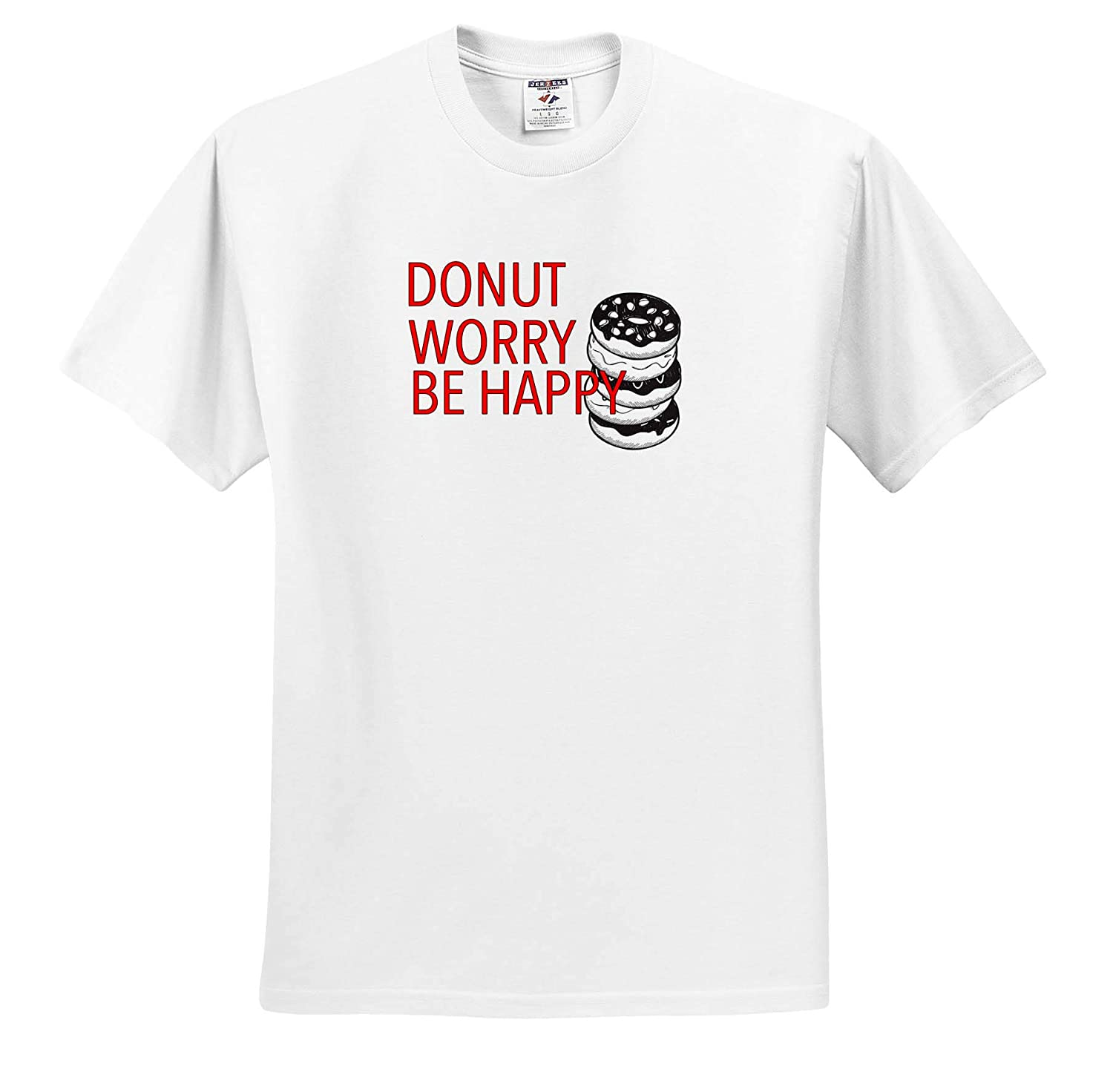 T-Shirts 3dRose EvaDane Funny Sayings Donut Worry Be Happy Red