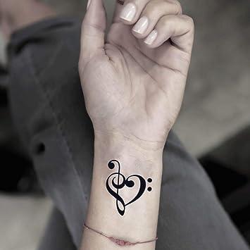 Tatuaje Temporal de Music Note Heart (2 Piezas) - www.ohmytat.com ...
