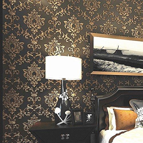 Blooming Wall: Non-Woven Elegant European Black/Gold Flocking Embossed  Textured Damasks Wallpaper Wall Mural Wallpaper for Living Room Bedroom,  20.8 ...