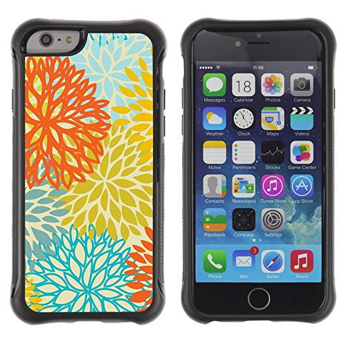 All-Round Hybrid Rubber Case Hard Cover Protective Accessory Compatible with Apple IPhone 6 (4.7'') - yellow orange teal flowers pattern