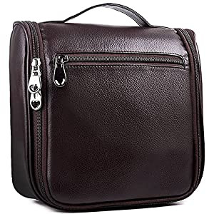 Toiletry Bag,Travel Makeup Cosmetic Bag, PU Leather Hanging Toiletry Bag for Women and Men(6020,Brown)