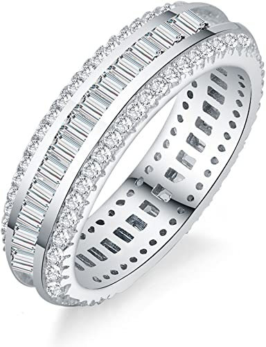 925 Sterling Silver thick CZ Baguette Eternity Wedding Band Anniversary Ring NEW