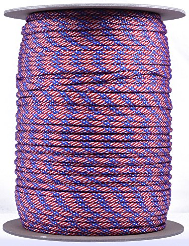Bored Paracord - 1', 10', 25', 50', 100' Hanks & 250', 1000' Spools of Parachute 550 Cord Type III 7 Strand Paracord Well Over 300 Colors - Stars and Stripes - 1000 Foot Spool (Star 3 Strand)