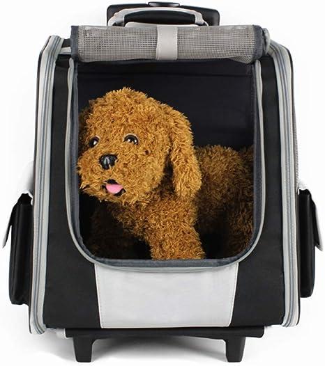 WLDOCA Mochila/Carrito para Perros 2 En 1 - Transportín para Perros Y Gatos (Negro) - con 2 Ruedas: Amazon.es: Deportes y aire libre