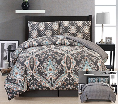 LUXURY SOFT EGYPTIAN COTTON TOUCH REVERSIBLE COMFORTER BED SET , QUEEN SIZE ...