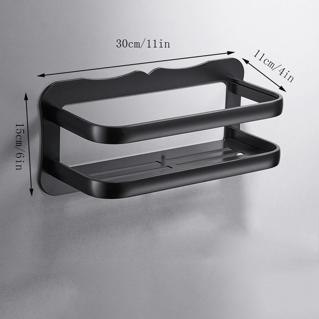 YXN Space Aluminum Bathroom Shelf Bathroom Hardware Accessories Single Layer Cosmetics Black Wall Shelf Storage Rack (Size : 30cm)