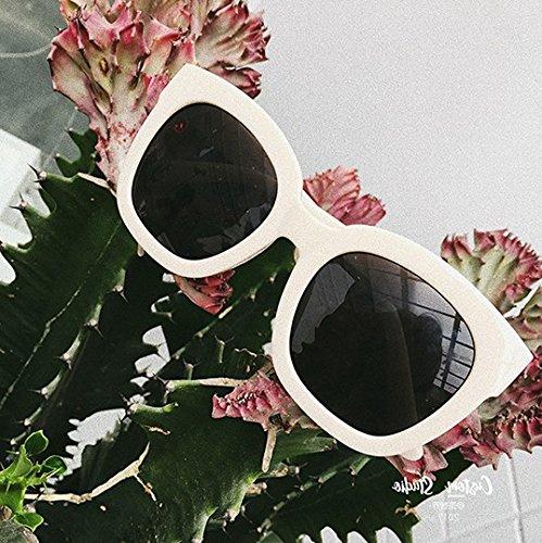 Burenqi sol de C moda bastidor se sombreado enfrenta Gafas grande sol de Vintage la gafas de blancas A cuadrado Gafas a polarizadas gafas HrrEWn