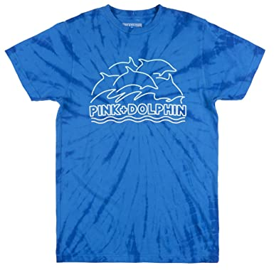 25a0e248 Image Unavailable. Image not available for. Color: Pink Dolphin LINE WASH T-Shirt  Mens TIE DYE Blue