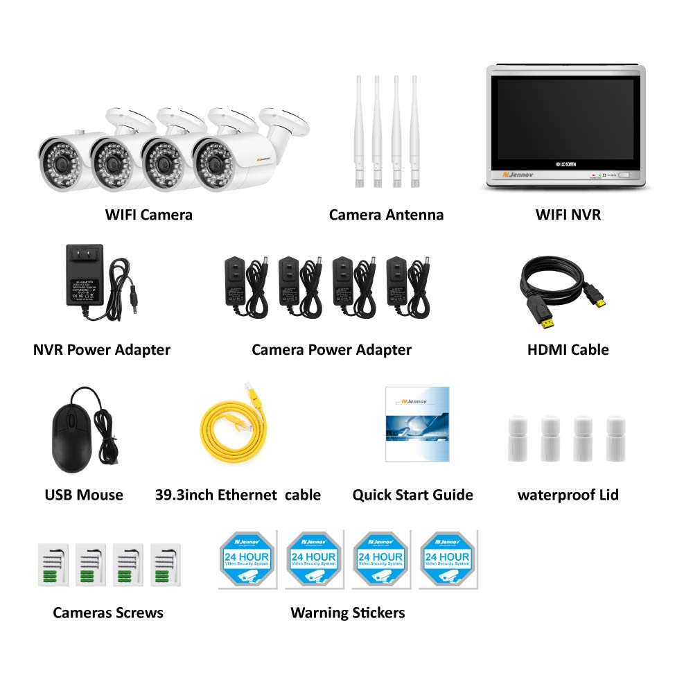 Newest Strong Version WiFi Jennov Security Camera System Outdoor Wireless 4 Channel HD 960P 12 Inch Monitor WiFi Home IP Video Surveillance Night Vision NVR Kit NO HDD