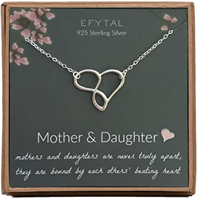 Double Heart Necklace  Love Necklace  Mother Child Necklace  Two Hearts Necklace  Gift for Her  Gift for Mom