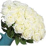 Veryhome Fiori Artificiali Rose di Seta Falso Bouquet da Sposa da Sposa per la casa Giardino Partito Decorazioni Floreali 10 Pezzi (Bianco, specie1)