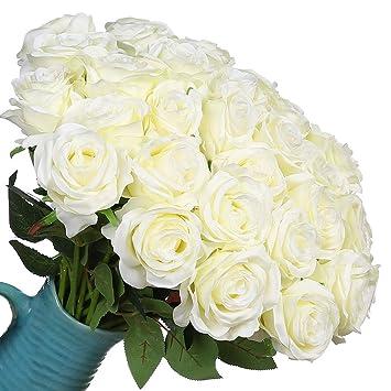 Veryhome Flores Artificiales de Seda Rosas Falsas Ramo de Boda Nupcial para el Hogar Fiesta de Jardín Decoración Floral 10 Pcs (Blanco, Tipo1): Amazon.es: ...