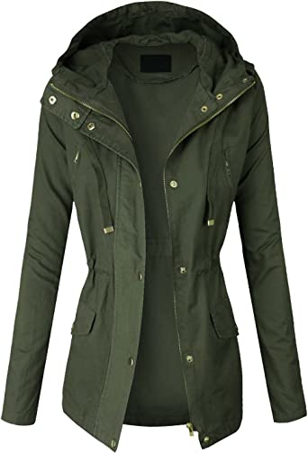 S-3XL makeitmint Womens Zip Up Military Anorak Jacket w//Hood