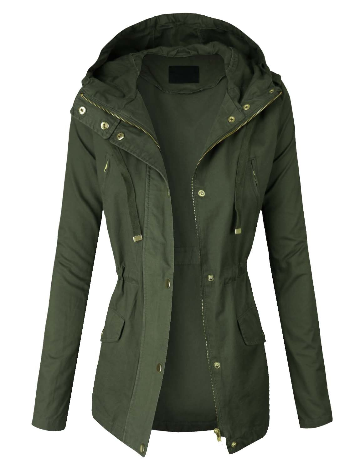 makeitmint Women's Zip Up Military Anorak Jacket w/ Hood Small YJH0018_Olive
