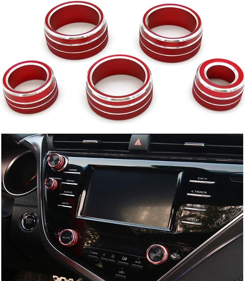 Black Thor-Ind 5pcs Center Console Knob AC Air Conditioning Button+Audio+Function+Rear Mirror Knob Button Cover Trim for Toyota Camry 2018 2019 2020