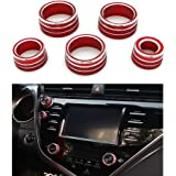 Thor-Ind 5PCS Aluminum Car Center Console Knobs Decoration AC Air Conditioning+Audio+Function+Rear Mirror Knob Switch…