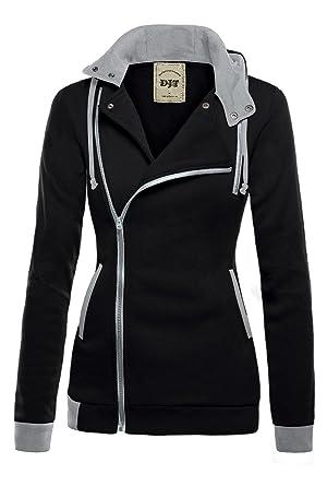 DJT Womens Oblique Zipper Slim Fit Hoodie Jacket at Amazon Women's ...