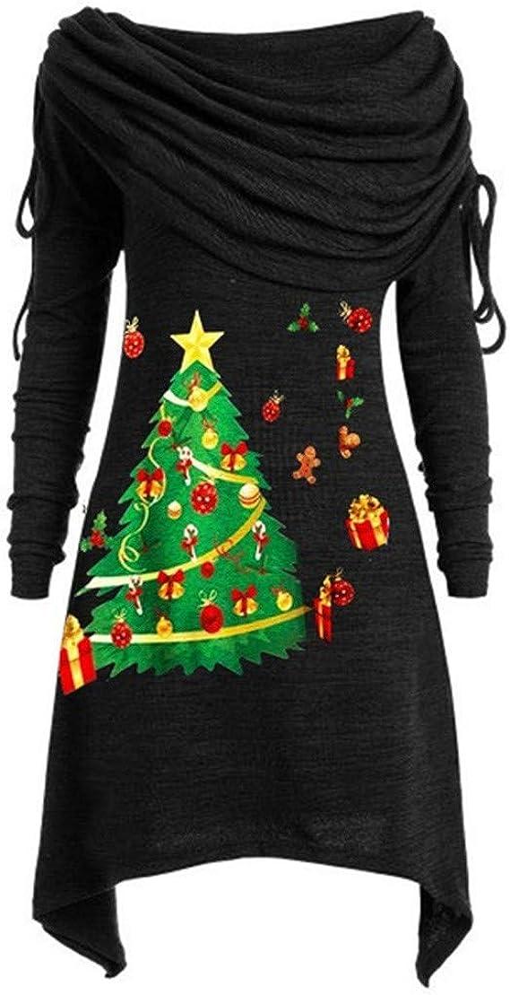 BIKETAFUWY Herbstmode Damen Weihnachtsbaum Drucken Pullover