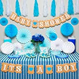 Premium baby shower decorations for boy Kit | It's a boy baby shower decorations with striped tablecloth, 2 banners, paper fans, and honeycomb balls | complete baby shower set for a beautiful baby boy