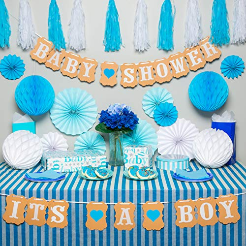 Premium baby shower decorations for boy Kit | It's a boy baby shower decorations with striped tablecloth, 2 banners, paper fans, and honeycomb balls | complete baby shower set for a beautiful baby boy -