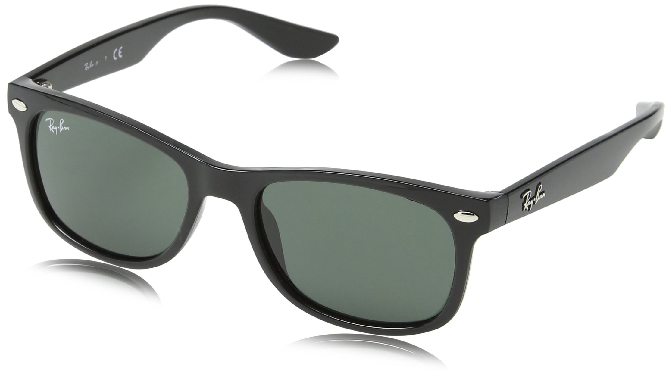 RAY-BAN JUNIOR Kids' RJ9052S New Wayfarer Kids Sunglasses, Black/Green, 48 mm by RAY-BAN JUNIOR