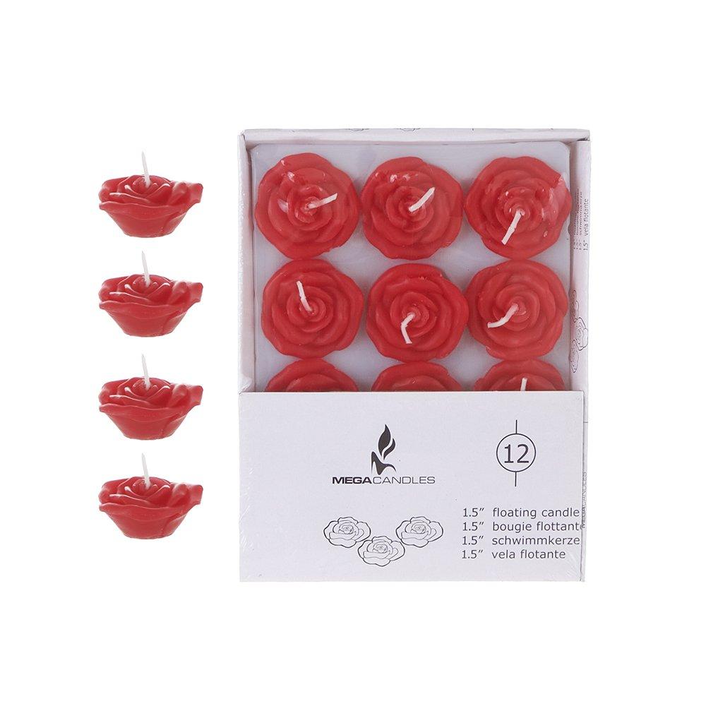 Mega Candles - Unscented 1.5 Floating Rose Flower Candles - Red, Set of 12 CNA015-R-12