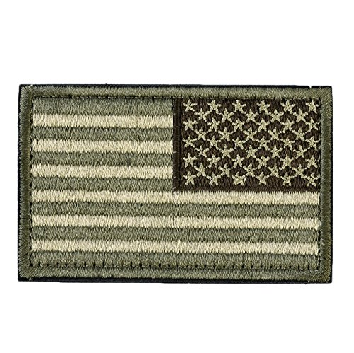 American Flag (Right Arm) Tactical Morale Patch with Velcro for molle backpacks, Condor hats, and military uniforms (US Reverse, Olive Drab Green, 2