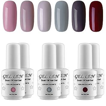 Amazon.com : Gellen 2018 New Elegance Gray 6 Colors Gel Nail Polish ...