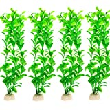 COMSUN 4 Pack Artificial Aquarium Plants, Large Size 10.6 inch Approximate Height, Fish Tank Decorations Home Décor Plastic Green