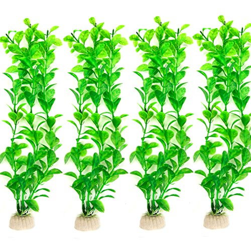 COMSUN 4 Pack Artificial Aquarium Plants, Large Size 10.6 inch Approximate Height, Fish Tank Decorations Home Décor Plastic Green ()