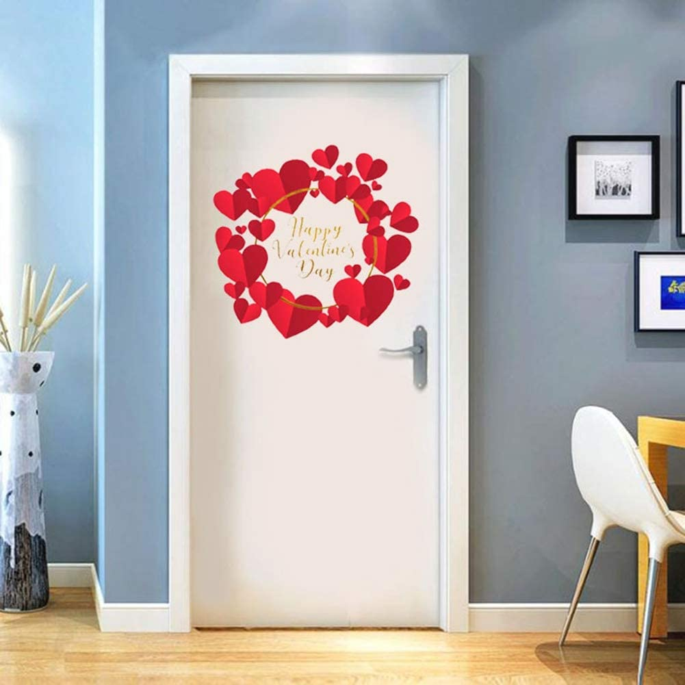 Happy Valentines Day Wall Sticker Love Hearted Window Display Home Door Decoration