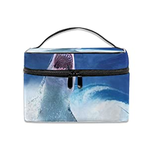 Toiletry Bag Multifunction Cosmetic Bag Shark Attack Human Portable Makeup Pouch Waterproof Travel Organizer Bags For Women Girls Beauty
