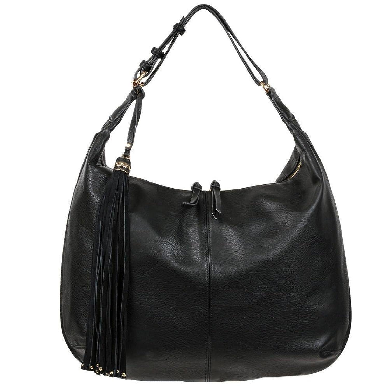 Black Rivet Womens Romie Faux-Leather Hobo W/ Large Tassel