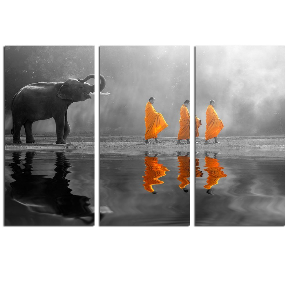 Sea Charm - Elephant Wall Art,Human at Peace with Nature,Monk in Yellow Frock Alms Round Zen Painting Pictures for Home Wall Decoration,Framed Canvas Artwork Ready to Hang