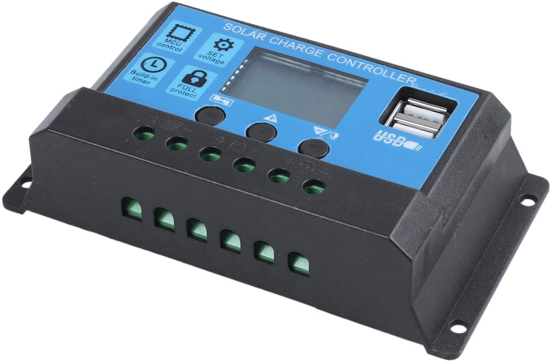 Perezy 30A 12V / 24V Controlador de carga d bateria solar PWM regular auto inteligencia LCD