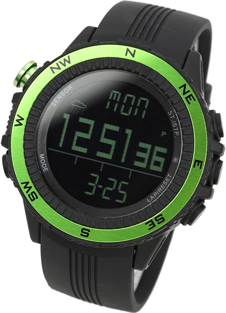 [Lad Weather] Sensor alemán brújula digital altímetro barómetro cronógrafo alarma Previsión météorologiques relojes deportivo para hombres
