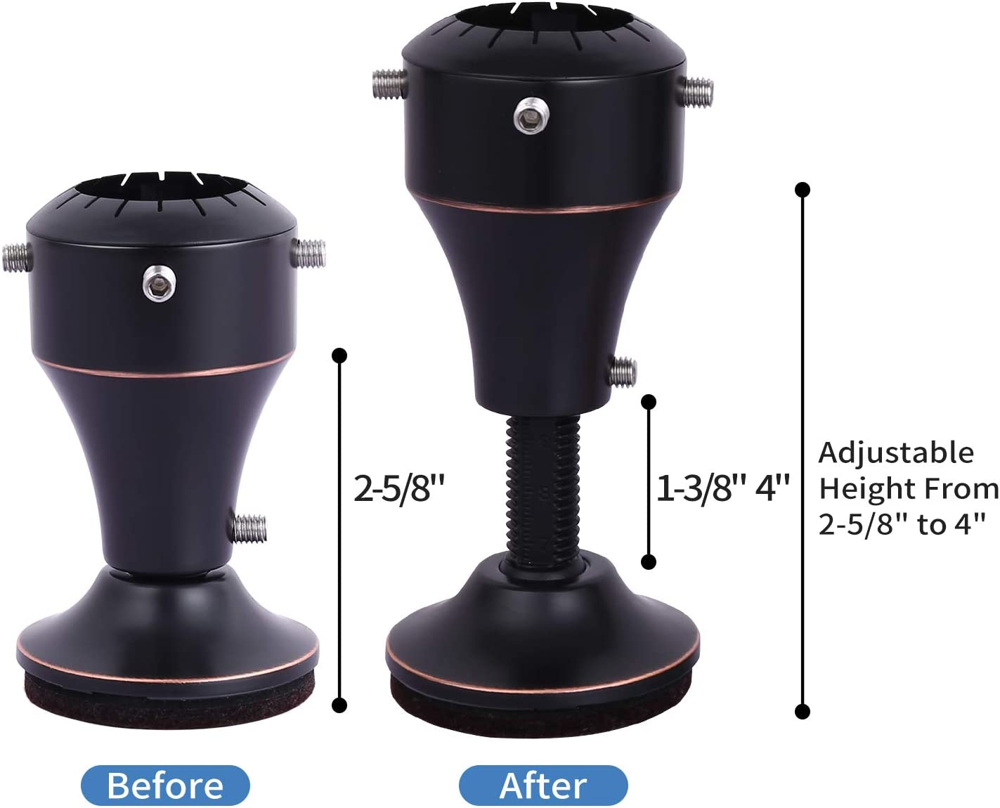 0/°~45/° Rotatable Furniture Riser Base Ezprotekt Adjustable Chair Riser Lifts Height from 2-5//8 Inch to 4 Inch 4Pack Brown Fit Chair Table Desk Sofa Feet Diameter from 1-1//8 to 1-5//8