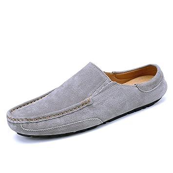 Xiazhi-shoes, Conducción de los Hombres Penny Mocasines Cuero Genuino Zapatillas Casuales Slip-On Boat Mules, (Color : Gris, tamaño : 38 EU): Amazon.es: ...