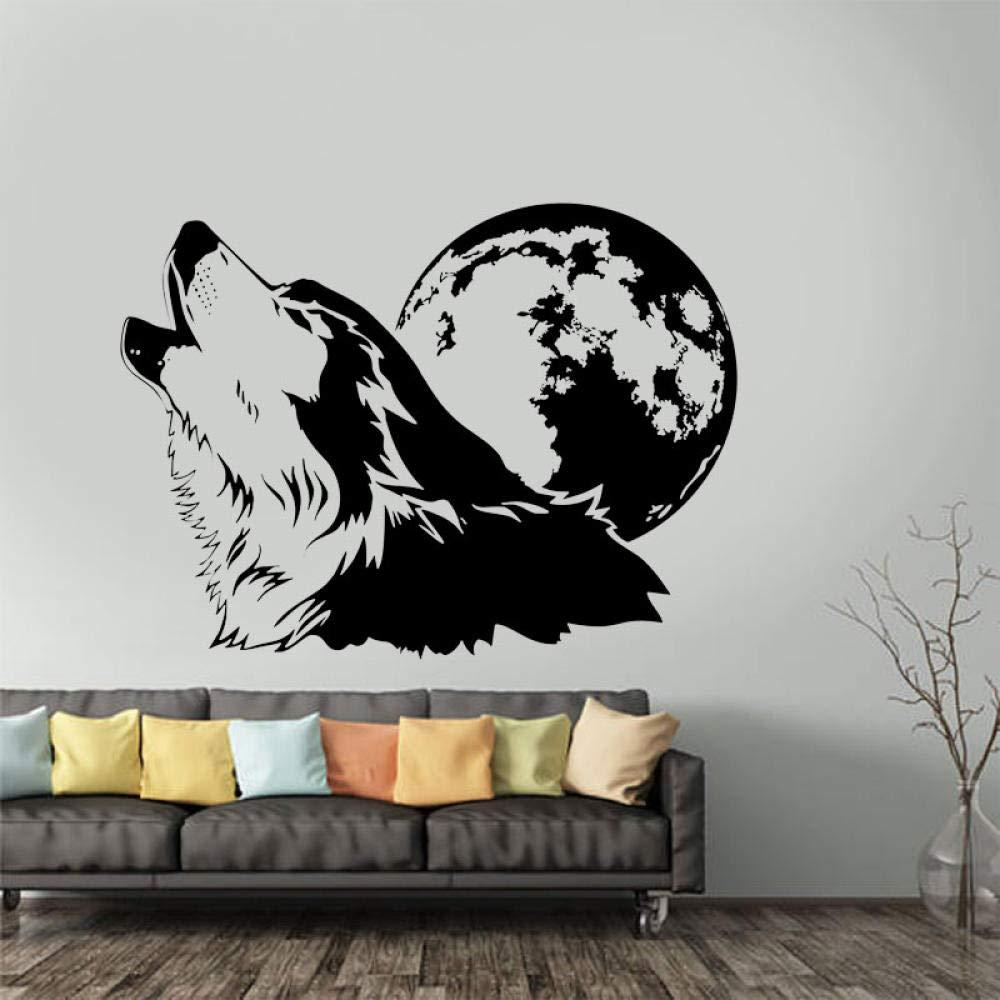 Cooldeerydm Howling Wolf Tatuajes de pared con luna llena Vinilo ...