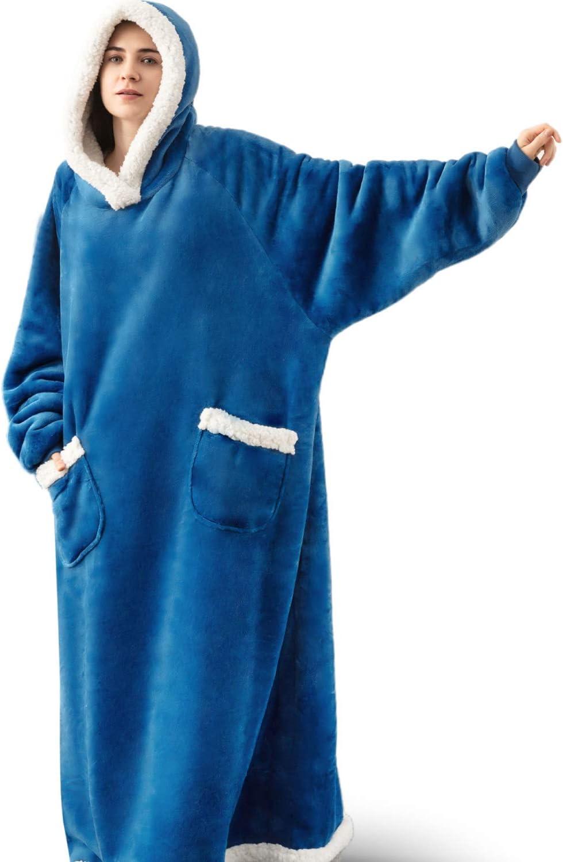 Bedsure Long Wearable Blanket, Sherpa Blanket Hoodie, Standard Blanket Sweatshirt with Deep Pockets and Sleeves for Adults Kids Teen, Teal