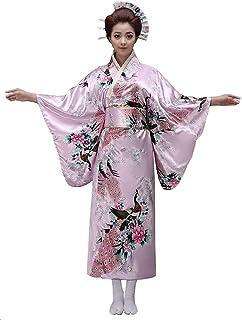 c75508e8705f Kimono Femme satiné Rose à Motifs, Fleurs et Paon, Ceinture, Japonais  Traditionnel